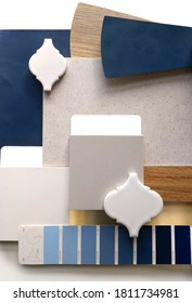 Moodboard. Material samples. Blue, gray, white, warm wood. - Shutterstock ID 1811734981