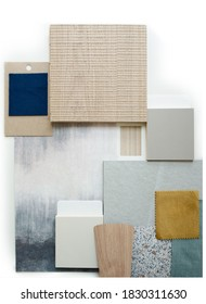 Moodboard. Material samples. Blue, gray, yellow, white, warm wood.