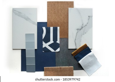 Moodboard. Material samples. Blue, white, warm wood, marble stone.