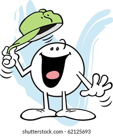Moodie character smiling and tipping his hat