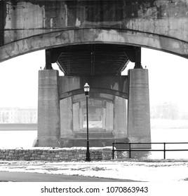 Moody architecture, under the bridge in Davenport, Iowa