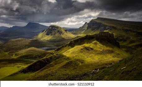Moody clouds above the Quiraing in the Scotland highlands.