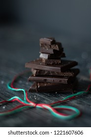 Moody Dark Chocolate With Christmas Ribbon