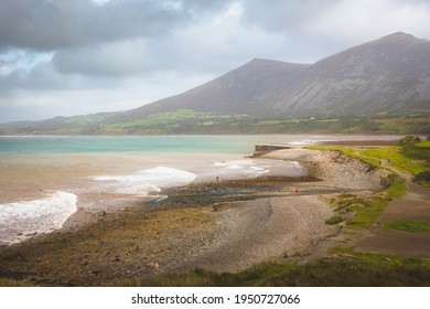 Moody, dramatic mountain landscape and seascape at Trefor and Yr Eifl quarry on the Llyn Peninsula in North Wales, UK.