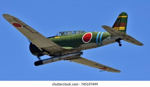 Moody, Georgia, USA - October 27, 2017: A Nakajima B5N torpedo bomber, a World War II era Japanese fighter plane, at Moody Air Force Base.