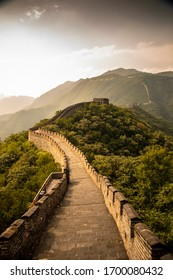 A moody golden afternoon at the Great Wall of China near Beijing.