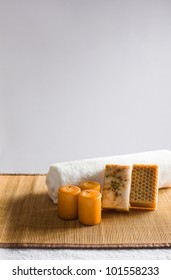 Moody light tranquil still life with spa bathing accessories.