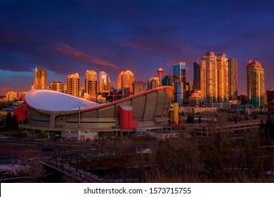 Moody morning sunrise sky over downtown Calgary