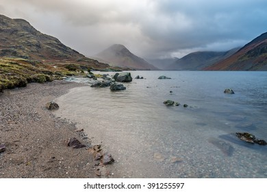 Moody morning at Wast Water in the Lake District with dramatic clouds.