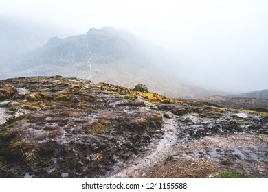 Moody Scotland highlands with fog