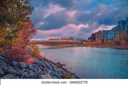 Moody sky over an autumn Bow river