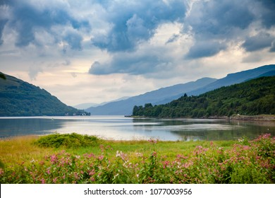Moody sky with stormy clouds over Sea Loch Long in Argyll and Bute ,Scotland, UK