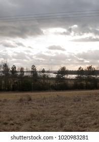 moody skyline clouds over autumn farm field ; essex; england; uk