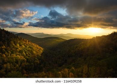 Moody sunrise, autumn scenic, Blue Ridge Parkway