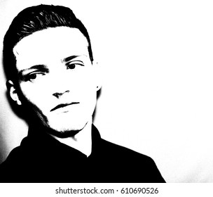 Moody young man in his twenties in black and white
