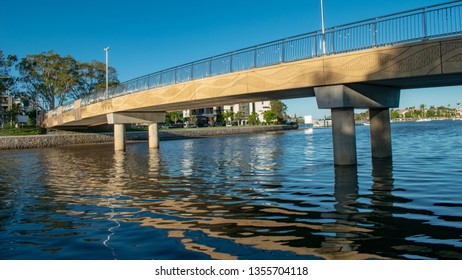 MOOLOOLABA, AUSTRALIA - MARCH 30 2019: A new cycle and pedestrian bridge in Mooloolaba provides a segregated and safer crossing of the Mayes Canal