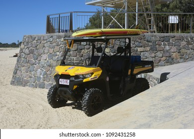 Mooloolaba, Queensland, Australia - May 10 2018: Can-Am Defender all-terrain vehicle used by life guards on Mooloolaba Beach.