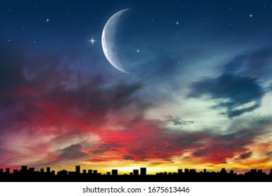 The moon above the city into the sky. background of religions