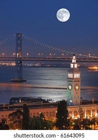 Moon above Ferry Building & Bay Bridge
