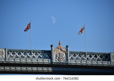 The moon above the Tower Bridge