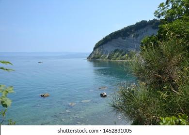 Moon Bay (Mesecev zaliv) in Strunjan, Slovenia, the most beautiful part of the short Slovenian coastline - Shutterstock ID 1452831005