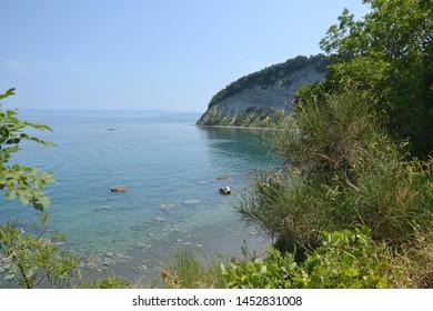 Moon Bay (Mesecev zaliv) in Strunjan, Slovenia, the most beautiful part of the short Slovenian coastline - Shutterstock ID 1452831008