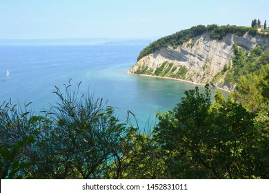 Moon Bay (Mesecev zaliv) in Strunjan, Slovenia, the most beautiful part of the short Slovenian coastline - Shutterstock ID 1452831011