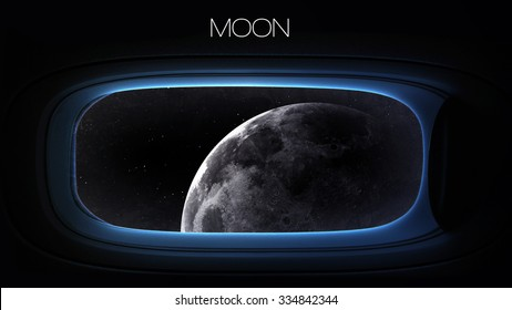 Moon - Beauty of solar system planet in spaceship window porthole. Elements of this image furnished by NASA