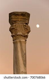 Moon behind  ancient column of Creek colony Chersonesos in Sevastopol, Crimea