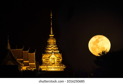 moon beside the temple