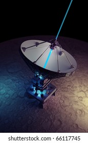Moon with big satellite dishes antenna (doppler radar)  isolated on black 3d render