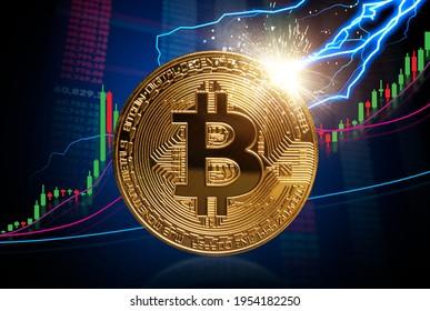 Zum Wachstumskonzept Mond und Bitcoin: Starker Anstieg der Bitcoin-Preise auf der Marktkarte für Kerzenhalter. Blitze, die die Bitcoin treffen. Investitionen in die Kryptowährungswelt.