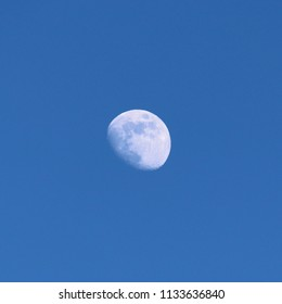 Moon in blue sky (waxing gibbous phase)