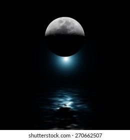 Moon with blue star reflecting on water at night. No NASA elements used