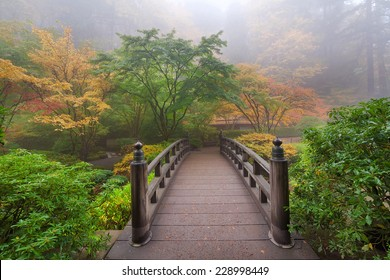 Moon Bridge One Foggy Morning in Colorful Autumn Season at Portland Japanese Garden