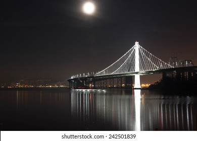 The moon and the bridge, San Francisco