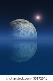 Moon and bright star over sea background.