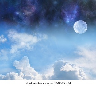 Moon by Night and Day - the pale moon with blue sky and fluffy clouds below and deep space night sky above with plenty of copy space
