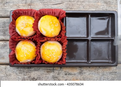 moon cake in box, Traditional delicious cake in asia.