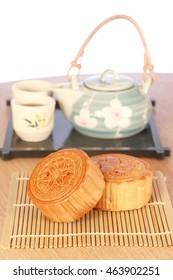 Moon cake and tea,Chinese mid autumn festival food.