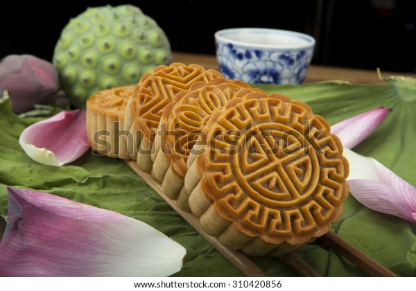 Moon cake traditional cake of Vietnamese - Chinese mid autumn festival food