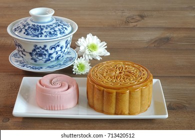 Moon cake (Yuebing) for mid autumn festival (Zhongqiujie), Chinese traditional pastry
