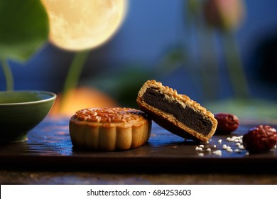 Moon cakes,the text on the moon cake is the name of the filling