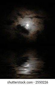 moon in clouds above a nightly lake, is a lunar road