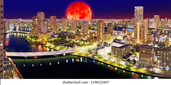 Moon collage of night Tokyo panorama with wide angle aerial view of Sumida river in illuminated Tokyo with bright bridges, skyscrapers and dark sky