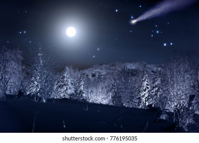 Moon and comet over night winter forest. Night sky with stars. Winter night landscape. Spruce forest in winder