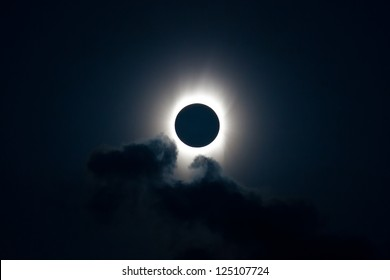 The moon completely covers the sun during a total solar eclipse which occurs on average every 18 months.  This is a spectacular natural event.