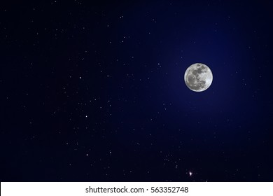 Moon and constellations in the sky