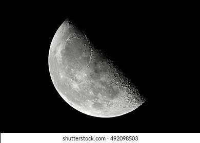 The Moon detailed shot taken at 1600mm focal length, entering third quarter, 54 percent illumination