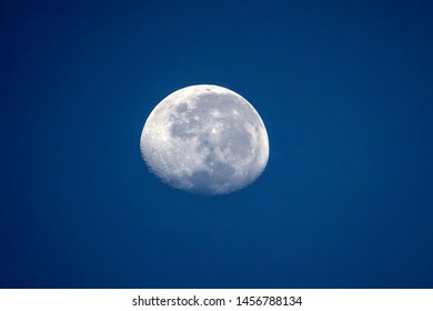 The moon during blue hour sunrise